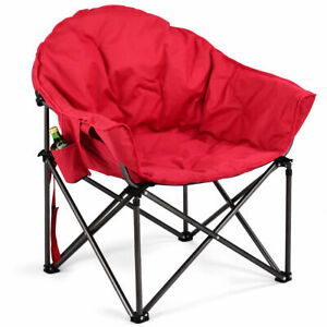 Oversized Saucer Moon Folding Camping Chair Padded Seat W