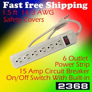 15a circuit breaker 6 outlet heavy duty power strip w safety covers rh ebay com