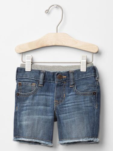 GAP Baby Boy 3-6 Months Blue Pull-On Ripped Cutoff Denim Shorts Jeans Pants