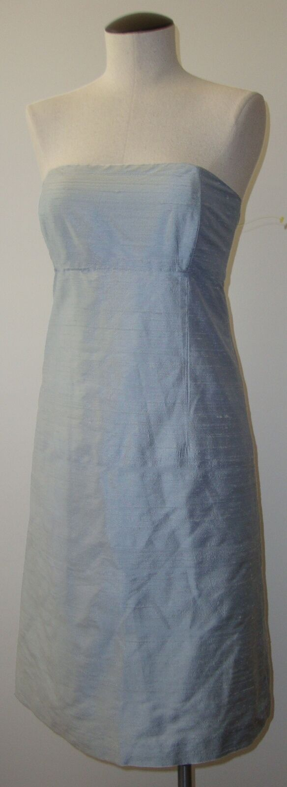 VANESSA FOX STRAPLESS ICE AQUA Blau RAW SILK DRESS SZ 2 EUC STUNNING