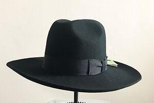 Israel Jewish Hat Wool Hasidic Rabbi Wide Brim Fedora Cap Black  d8e85b421b9