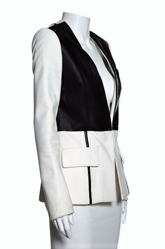 Blend Fitted Usa 4 black Yigal White leather Blazer Nylon Jacket Women's Azrouel xYa44Rg