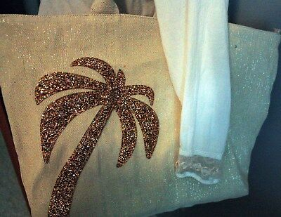 PALMY Beach Bag in Sparkling Canvas with Glam Palm Detail 20x14x4 3/4