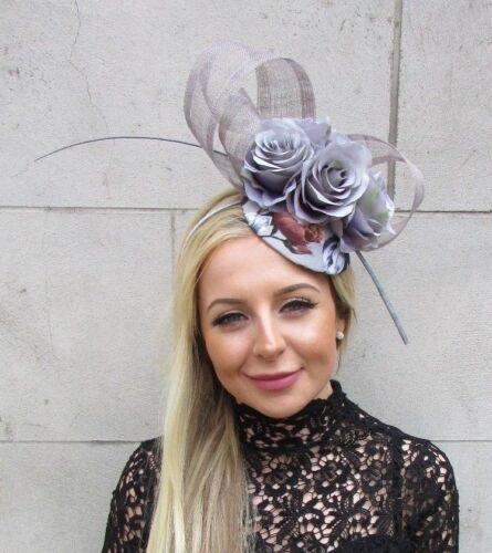 Motif Fleuri Gris Rose Fleur plume Pilulier Chapeau Cheveux Fascinator races mariage 5760