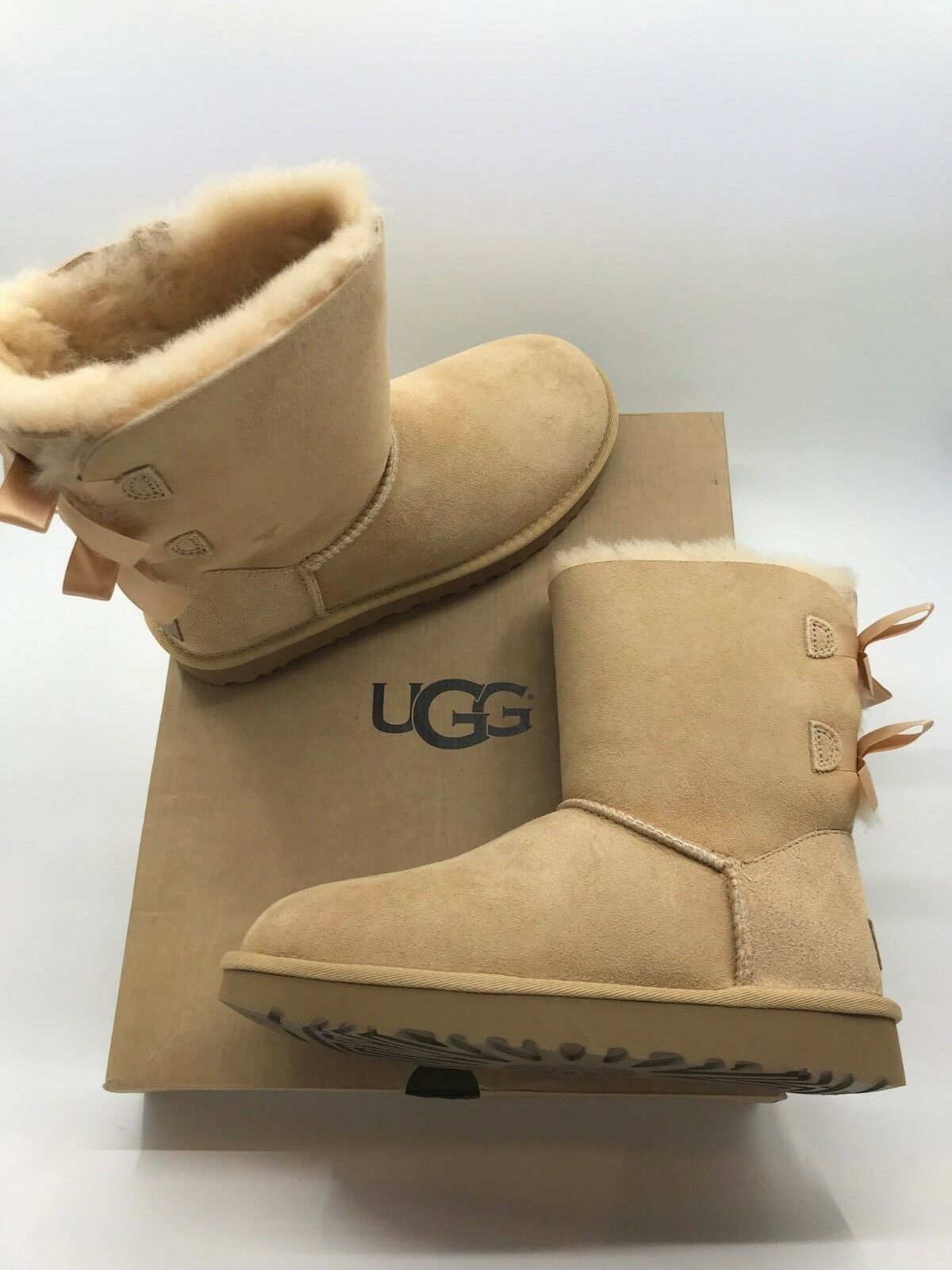 cd97911cd52 UGG Bailey Bow II Womens 1016225-soch Soft Ochre Suede Sheepskin BOOTS Size  6
