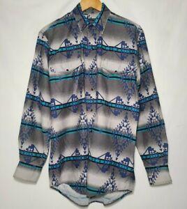 Vintage-Roper-Western-Shirt-Teal-Aztec-Southwest-Cowboy-Snap-Button-Size-M