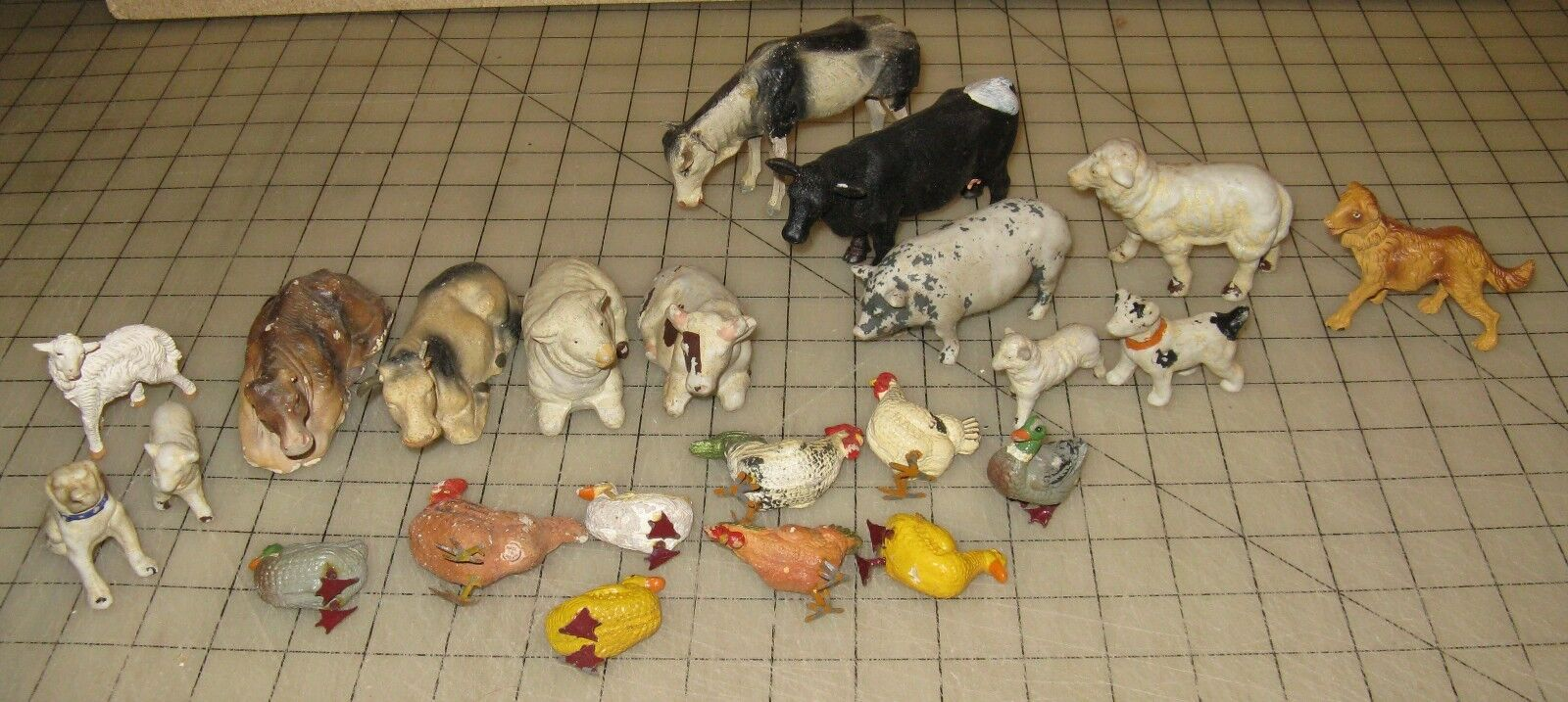 Large Lot of Vintage FARM ANIMAL Toy Figurines, 2 Made in Japan - Chalk, Plastic
