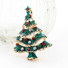 Christmas Tree Collection White Red & Green Rhinestones Shiny Brooch Pin BR314
