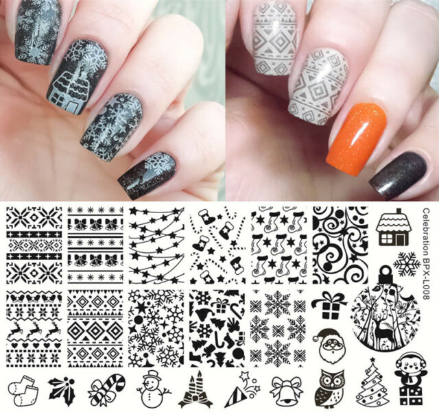 Nail Art Stamp Plate Image Template Christmas Celebration Born ...