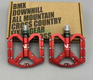 ENZO Road Mountain MTB XC Bike Pedal 3 Bearing Steel Flat-Platform Pedals Orange