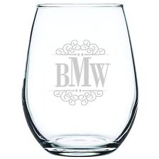 Engraved Personalized Customized Stemless White Wine Glass Monogram or Your Spec