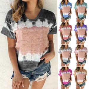 Womens-Summer-Short-Sleeve-Floral-T-Shirt-Casual-Loose-Boho-Beach-Tops-Blouse
