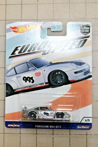 Hot Wheels Cultura Carro Euro Speed Porsche 933 GT2 Prata Novo 4//5