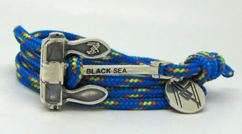 925 Sterling Silver Stockless Heavy Anchor on Blue Paracord Bracelet /& Necklace