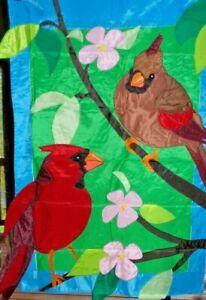 """Cardinals and Dogwood Prestige Estate House Flag Premier, Huge 36""""x 54"""" , #4206"""