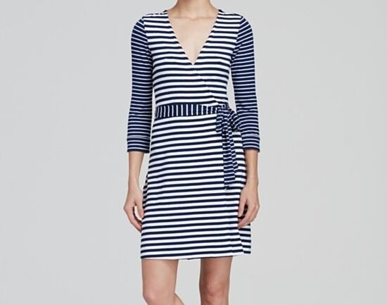 Diane Von Furstenberg NEW JULIAN TWO MINI Stripe Wrap Dress Midnight Wht NWD 10