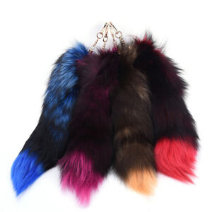 7f8b928cf385 Large Fox Tail Keychain Fur Tassel Car Key ring Bag Charm 4 Colors ...