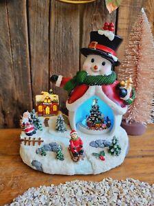 Winterszene Schneemann 25cm bewgl. Teile LED Weihnachten Musik Schnee Spieluhr