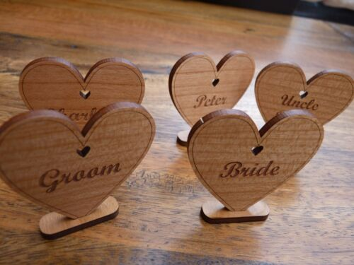 Personalised Wooden Place Name Settings Heart Wedding Meal Table Name Cards