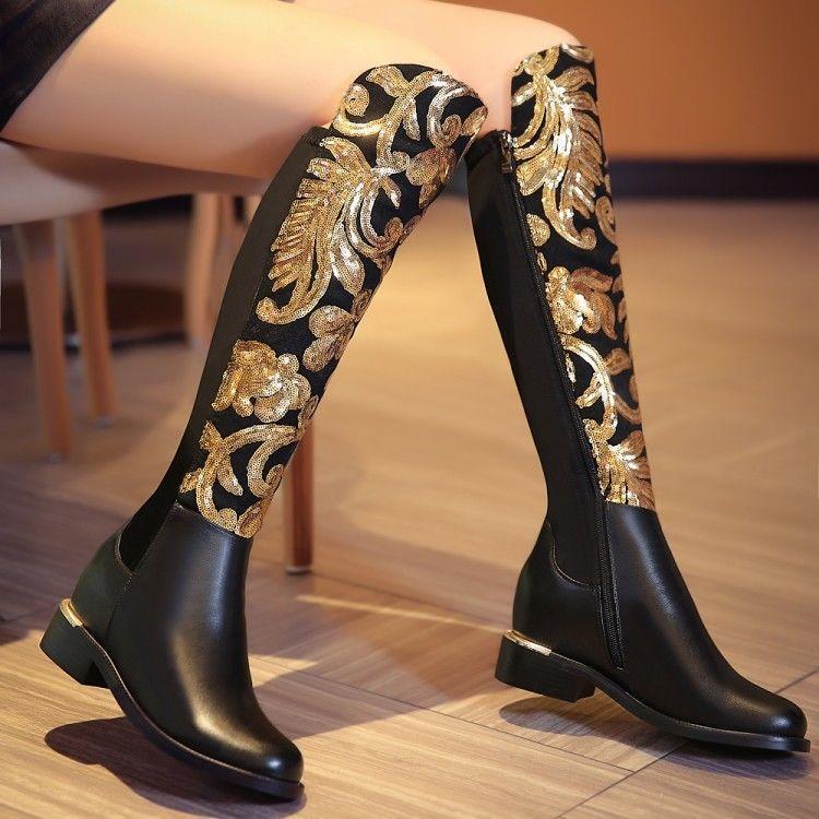 Bloque de brillos brillos brillos y lentejuelas para mujer floral Caballero a Caballo de tacón bajo la rodilla botas altas  el mejor servicio post-venta