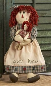 "Primitive Country Rustic Raggedy Doll W / Toy Doll & "" LIVE WELL "" Apron"