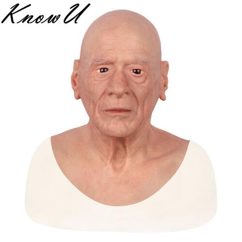 Vecchio uomo maschera Silicone realistico Masquerade testa piena difficile