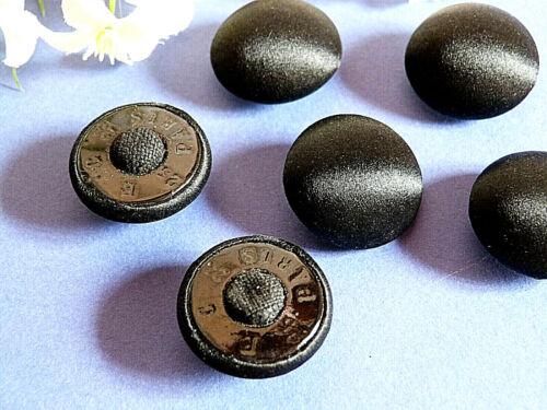 188B// SPLENDIDES BOUTONS EN SOIE NOIRE BEAU REFLET LOT DE 6 EPOQUE ART NOUVEAU