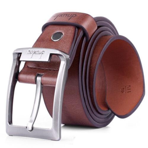 Men/'s Vintga Leather Single Prong Belt Business Casual Dress Metal Buckle