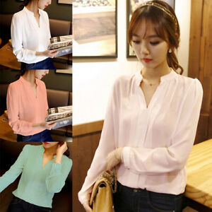 White-T-shirt-for-Women-V-neck-Blouse-Pleated-Long-sleeve-Loose-Chiffon-Spring