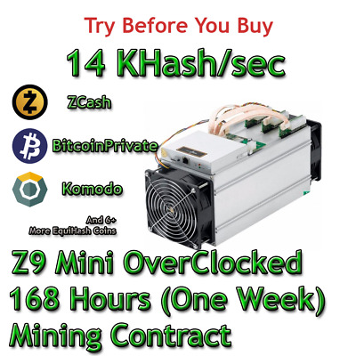 Zcash 1 FULL Week! Equihash 168Hrs 14,000 Sols//sec Mining Contract Z9 mini ZEN
