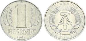 GDR 1 Pfennig Aluminium 1965 A Seltener Year Mint State, Randefehler 46921
