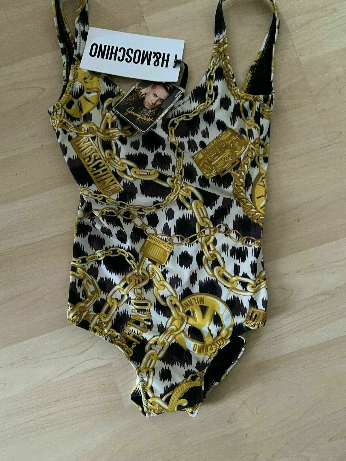 Moschino H&MOSCHINO TV H&M HM Body Badeanzug Swimsuit Ketten Chain EUR 36 US 4