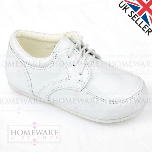 Bébé Garçons Espagnol Style Vernies Chaussures à Lacets Taille 1-8 Inf Noir Blanc Bleu Marine