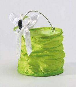 10-Lampions-8X9cm-Papier-Froisse-Vert-Anis-Decoration-Mariage-Bapteme-Fete-NEUF