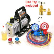 Manifold Gauge Set Combo 3 Cfm 13hp Air Vacuum Pump Hvac R134a Kit Ac Ac