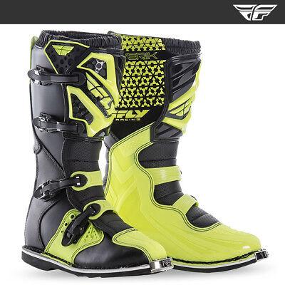 FLY RACING MAVERIK MOTOCROSS MX ENDURO BIKE BOOTS - BLACK / HI VIZ FLO YELLOW