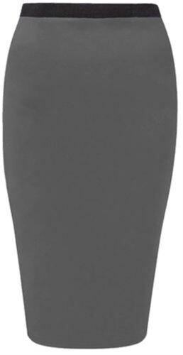 New Womens Plus Size Bodycon Jersey Pencil Midi Skirts 16-26