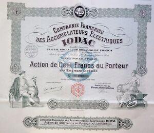 Compagnie Française Des Accumulateurs Électriques Iodac Action 100 Francs 1928 Jtoamfow-07221355-613035981