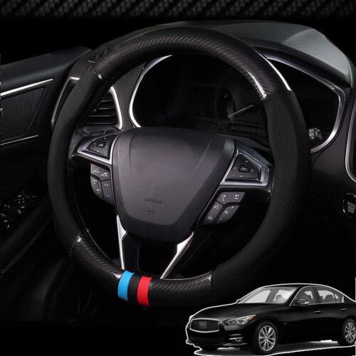 Car Steering Wheel Cover Anti-Slip Carbon Fiber Leather Wrap For Infiniti Q50