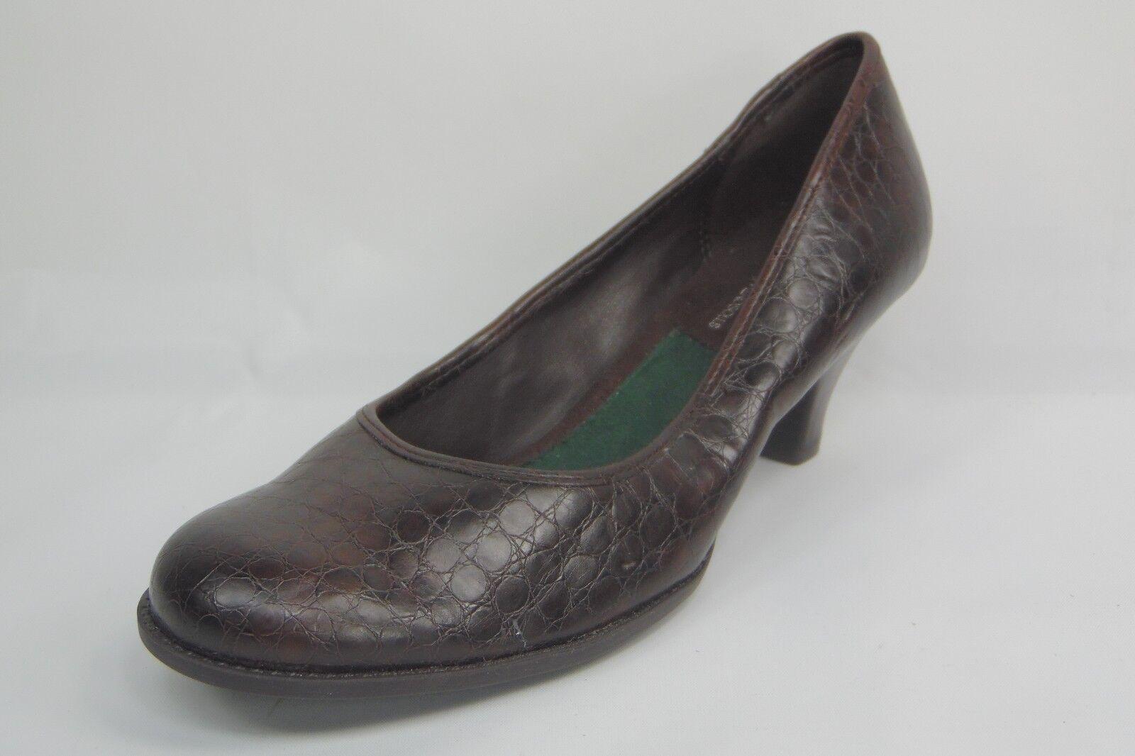 A2 AEROSOLES Tincel Brown Faux Croc Print Round Toe Pumps Heels shoes Size 6.5M