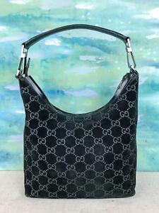 089266d2392  795 GUCCI Black Suede Monogram GG Web Print Leather Shoulder Bag ...