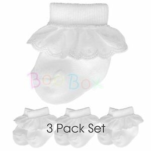 21d5045df5241 Baby Girls   Girls Pex 3 Pk Frilly White Cotton Rich Socks UK NB ...