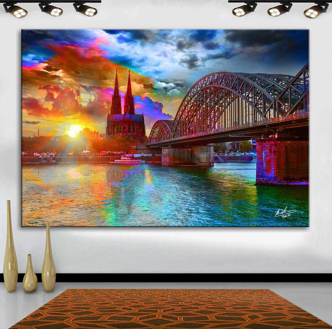 Köln Kölner Dom Stadt Städte Bild auf Leinwand Abstrakt KUNST Wandbild  1106A