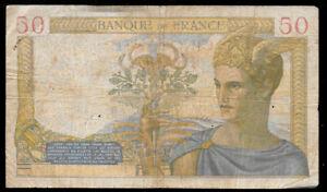 World-Paper-Money-France-50-Francs-1940-Ceres-P85b-VG-Cond