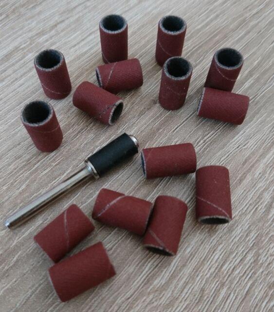15 Schleifhülsen 8mm + 1 Aufspanndorn 3,1mm 120 Korn für z.B. Dremel Proxxon
