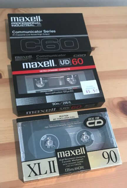 3 Rare Maxell Audio Cassettes UD60 C60 XLII New & Sealed Blank Minutes