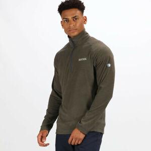 Regatta-Mens-Montes-Half-Zip-Lightweight-Mini-Stripe-Fleece-Top-Green-Sports