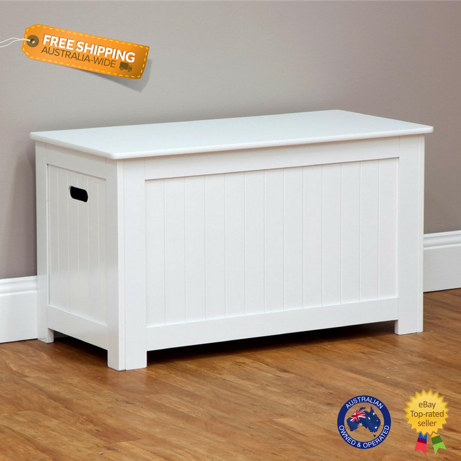 White Nursery Storage Bench Kid Toy Box Linen Chest Lift Up Lid