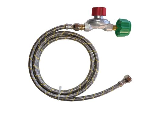 10 psi Adjustable Propane Gas Regulator QCC Type 1 10 ft Stainless Braided Hose