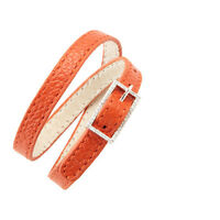 Crislu Leather And Cubic Zirconia Double Wrap Buckle Bracelet Orange